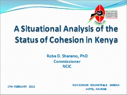 A Situational Analysis of the Status of Cohesion in Kenya