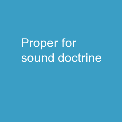 Proper for Sound Doctrine