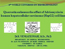 Quercetin  enhances the effect of Adriamycin in human hepatocellular carcinoma (HepG2) cell lines
