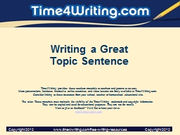 Writing a Great Topic Sentence