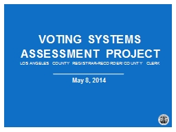 Voting Systems  Assessment Project