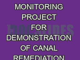 WATER QUALITY MONITORING PROJECT FOR DEMONSTRATION OF CANAL REMEDIATION METHODS FLORIDA