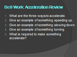 Bell Work: Acceleration Review