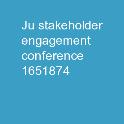 JU Stakeholder Engagement Conference