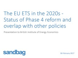 The EU ETS in the 2020s - Status of Phase 4 reform and overlap with other policies