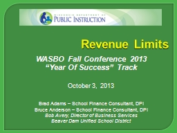 Revenue Limits WASBO Fall Conference 2013