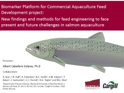 Biomarker Platform for Commercial Aquaculture Feed Development project: