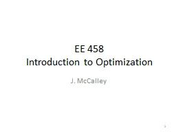 EE 458 Introduction to Optimization