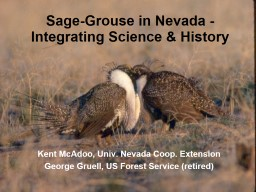 Sage-Grouse in Nevada -  Integrating Science & History