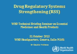 Drug Regulatory Systems Strengthening (RSS)