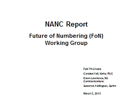 NANC Report Future of Numbering (