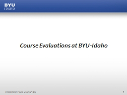 Course Evaluations at BYU-Idaho
