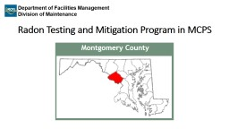 Radon Testing and Mitigation Program in MCPS