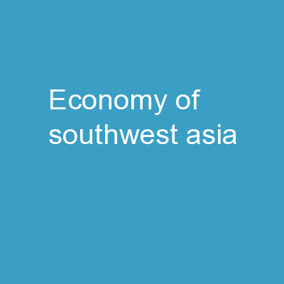 Economy of Southwest Asia