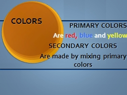 COLORS PRIMARY COLORS Are