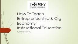 How To Teach Entrepreneurship & Gig Economy: