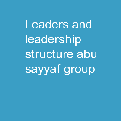 Leaders and leadership structure: Abu Sayyaf Group