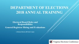 Department of Elections 2018 Annual Training