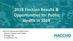 2018 Election Results & Opportunities for Public Health in 2019