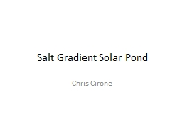 Salt Gradient Solar Pond