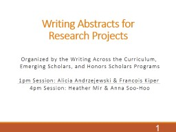 Writing Abstracts for Research Projects