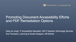 Promoting Document Accessibility Efforts and PDF Remediation Options