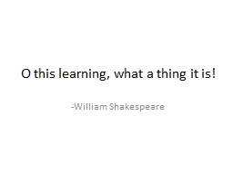 O this learning, what a thing it is!