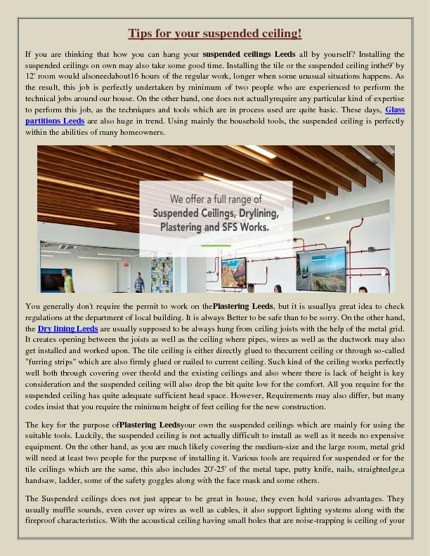 Tips for your suspended ceiling!