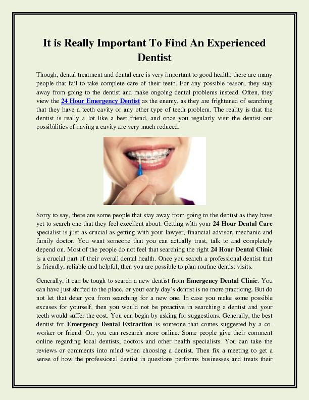 It is Really Important To Find An Experienced Dentist