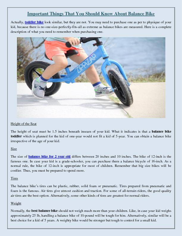 Important Things That You Should Know About Balance Bike