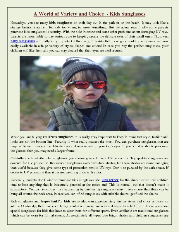 A World of Variety and Choice - Kids Sunglasses