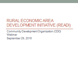 Rural Economic Area Development Initiative (READI)