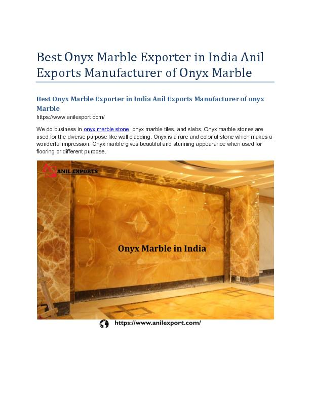 Best Onyx Marble Exporter in India Anil Exports Manufacturer of onyx  Marble