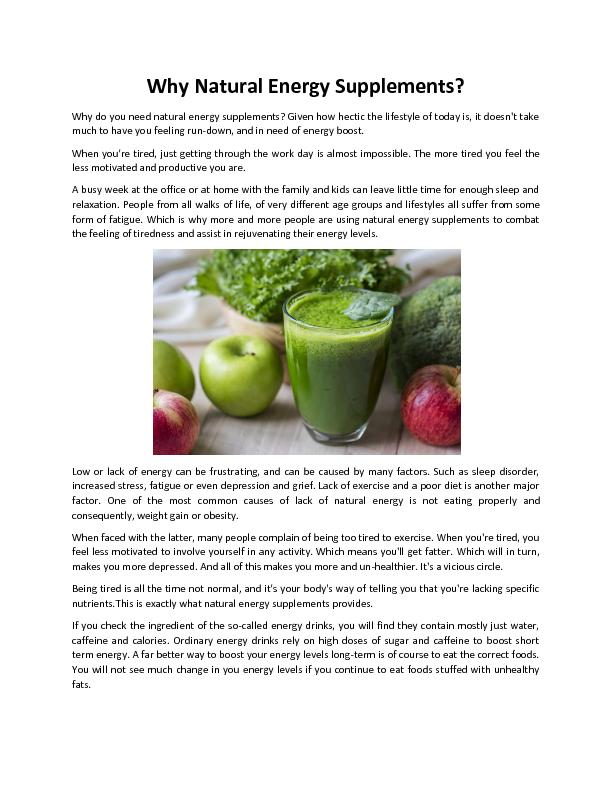 Why Natural Energy Supplements - Vita Hustle