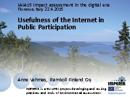 Usefulness of the Internet in Public Participation