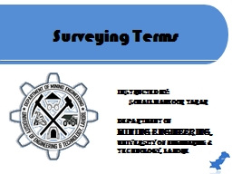 Surveying Terms Instructed by: