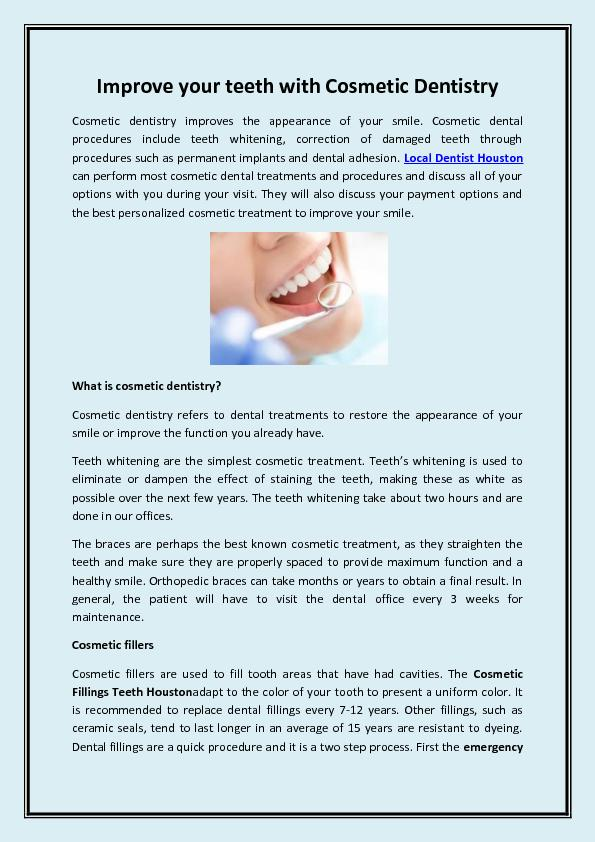 Improve your teeth with Cosmetic Dentistry