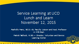 Service Learning at UCO Lunch and Learn PowerPoint PPT Presentation