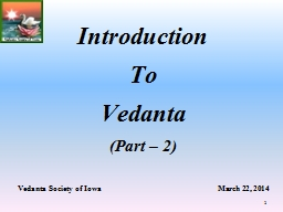 Vedanta Society of Iowa                                                            March 22, 2014