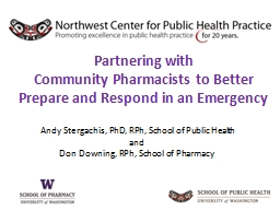 Partnering with  Community Pharmacists