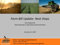 Farm Bill Update- Next Steps