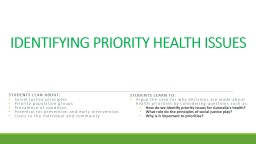 IDENTIFYING PRIORITY HEALTH ISSUES PowerPoint PPT Presentation