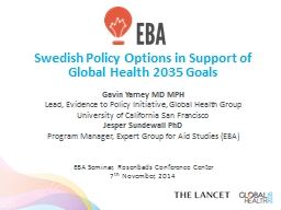 Swedish Policy Options in Support of Global Health 2035 Goals