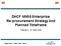 DHCF  MMIS Enterprise  Re-procurement