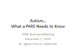 Autism… What a PARE Needs to Know PowerPoint PPT Presentation