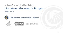 Update on Governor�s Budget