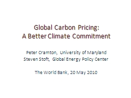 Global Carbon Pricing: A Better Climate Commitment