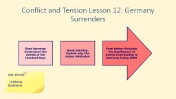 Conflict and Tension Lesson 12: Germany Surrenders
