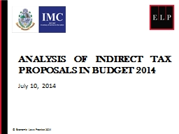 Analysis of INDIRECT Tax proposals in budget 2014