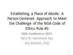 Establishing a Place of Abode: A Person-Centered Approach to Meet the Challenge of the NGA Code of